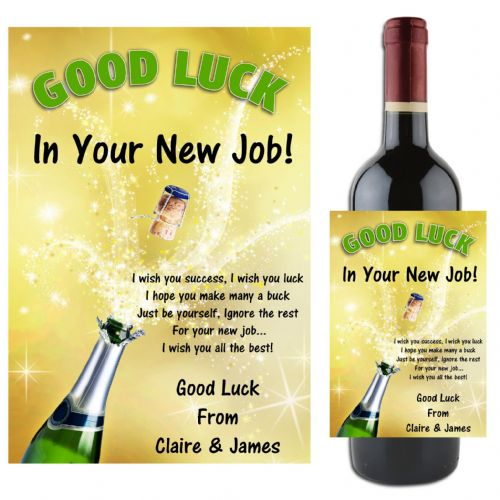 Personalised GOOD LUCK Wine / Champagne Bottle Label Gift Idea N62